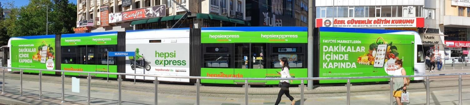hepsiburada & hepsiexpress antalya modern tramvay reklamı